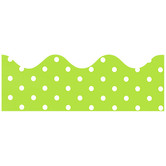 Renewing Minds, Scalloped Border Trim, 38 Feet, Lime with Small White Dots