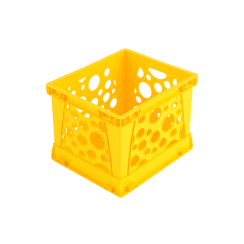 Storex, Micro Crate, Yellow, 5.80 x 6.75 x 4.80 Inches, 1 Piece