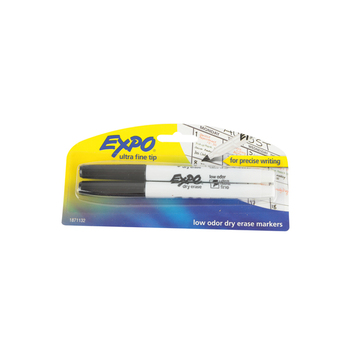 Expo, Low-Odor Dry Erase Markers, Ultra Fine Tip, 2-Pack, Black