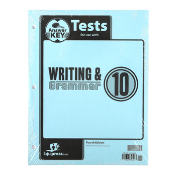 BJU Press, Writing & Grammar 10 Tests Answer Key (4th Edition)