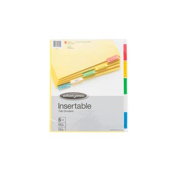 Wilson Jones, Insertable Tab Dividers, 5 Tab Set