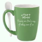 James Lawrence, Friends Coffee Mug with Spoon, Ceramic, Green and White, 15 ounces