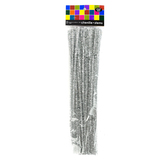 Tree House Studio, Chenille Stems, 12 x 1/4 Inches, Silver Tinsel, 50 Count