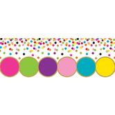 Teacher Created Resources, Confetti Big Big Border Trim, 43 Feet, Multi-Colored and Gold Dots