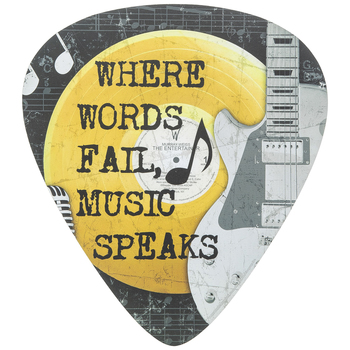 Where Words Fail Music Speaks Wall Decor, MDF, Black and Gray, 14 x 12 1/2 x 3/8 inches