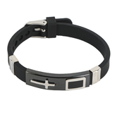 H.J. Sherman, Cross Bracelet, Silicone and Stainless Steel, Black and Silver, 2 5/8 inches