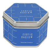 Winfield Home Decor, Exotic Oasis Candle Tin, Blue, 3 x 1 3/4 inches