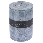 Winfield Home Decor, Denim & Lace Pillar Candle, Blue & Gray, 2 3/4 x 4 inches