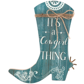 It's A Cowgirl Thing Boot Wall Decor, MDF, Blue, 9 1/2 x 8 x 5/8 inches