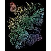 Engraving Art Set, Butterflies, 8 x 10 inches, Rainbow Foil