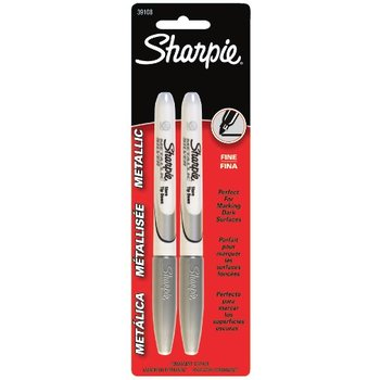 Sharpie, Permanent Markers, Fine Point, Metallic Silver, Pack of 2