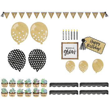 Schoolgirl Style, Simply Stylish Birthday Bulletin Board Set, 79 Pieces