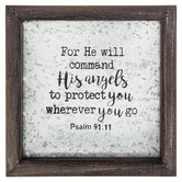 Psalm 91:11 Framed Tin Sign, Wood and Tin, 8 x 8 x 1 3/8 inches