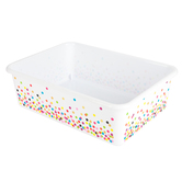 Teacher Created Resources, Confetti Large Plastic Storage Bin, White, 11 1/2 x 16 1/4 x 5 Inches