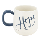 DaySpring, Hope Artisan Coffee Mug, Ceramic, White & Blue, 16 ounces