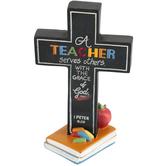 Dicksons, A Teacher Serves Table Cross, Resin, Black, 5 inches