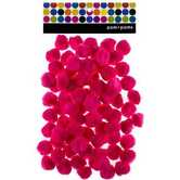 Pom Poms, 1 inch, Hot Pink, 80 count