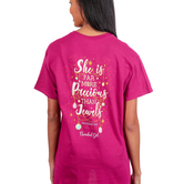 Cherished Girl, Proverbs 31:10 More Precious Than Jewels, Women's Short Sleeved T-Shirt, Berry, 3X-Large