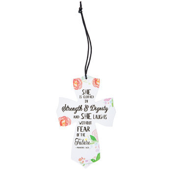 Proverbs 31:25 Hanging Mini Cross, White MDF, 3 1/2 x 5 1/2 x 1/4 inches