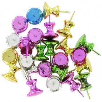 On Schedule, Metallic Push Pins, Multiple Colors, Set of 50 Pins