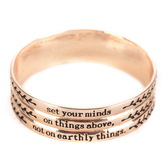 By His Grace, Colossians 3:2 Bangle Bracelet, Zinc Alloy, Rose Gold