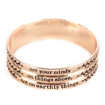 By His Grace, Colossians 3:2 Bangle Bracelet, Zinc Alloy, Rose Gold
