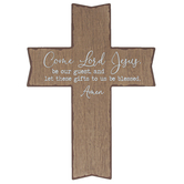 Mardel, Come Lord Jesus Wood Wall Cross Décor, Brown and White, 10.06 x 13.94 x 0.38 Inches