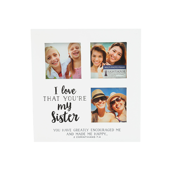 LCP Gifts, 2 Corinthians 7:4 Sister Multi Photo Frame, MDF, 6 1/8 x 6 1/2 inches