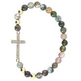 Modern Grace, Multi-Colored Agate Beaded Bracelet with Horizontal Cross, Zinc Alloy, Gold