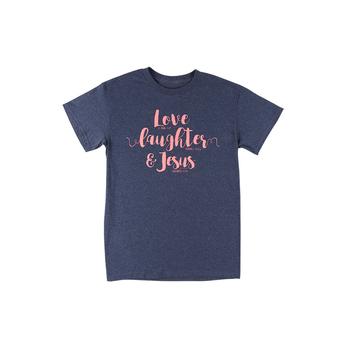 Kerusso, 1 John 4:19, Love Laughter & Jesus, Ladies Short Sleeved T-Shirt, Navy Heather