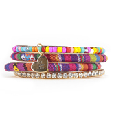 Radiant Sol, How He Loves Bangle Bracelet Set, Iron and Woven Cotton, Assorted Colors, 4 Pieces