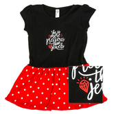 New Ewe, Proverbs 3:15 More Precious Than Jewels, Baby Short Sleeve Dress, Black and Red, 6 Months-24 Months
