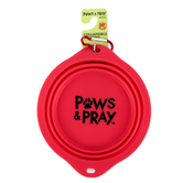 Kerusso, Paws and Pray, Pet Collapsible Bowl, Silicone, Red, 7 1/2 x 2 1/2 inches