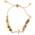 Oori Trading, Cross Beaded Friendship Bracelet, Gold and Brown