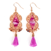 By His Grace, Purple Acetate Inlay with Tassel Dangle Earrings, Zinc Alloy and Brass, Rose Gold