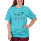 Red Letter 9, She Has Fire In Her Soul and Grace In Her Heart, Women's Short Sleeve T-Shirt, Scuba Blue, S-3XL