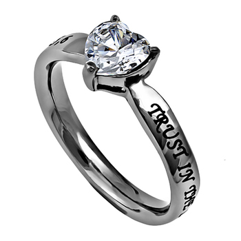 Spirit & Truth, Trust in the Lord With All Your Heart, Heart Solitaire Purity Ring, Stainless Steel