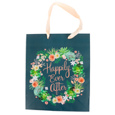 Medium Happily Ever After Succulent Gift Bag, Navy, 11 1/2 x 9 1/2 Inches