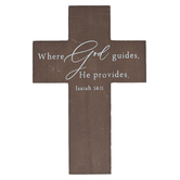 Isaiah 58:11 Where God Guides Wood Wall Cross, Brown, 7 7/8 x 11 3/4 x 3/8 inches