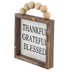 Thankful Grateful Blessed Beaded Wall Plaque, MDF, White & Black, 5 x 5 x 3/4 inches