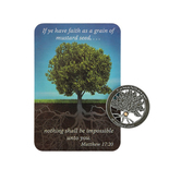 CTA, Inc., Mustard Seed Pocket Coin and Card, Pewter, 2 3/8 x 3 1/2 inches