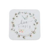 Legacy Publishing Group, Philippians 4:11 Live Simply Coaster, Cotton Wreath, 3 3/4 inches