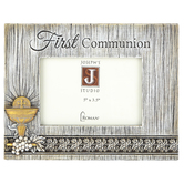Roman, Inc., First Communion Photo Frame, Resin, Woodgrain, 7 7/8 x 6 1/4 inches