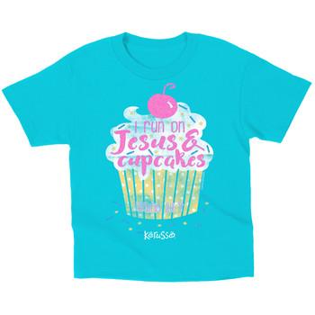 Kerusso, Isaiah 26:4, I Run on Jesus & Cupcakes, Kid's Short Sleeve T-Shirt, Turquoise, 3T- Large
