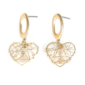 Radiant Sol, Wire Heart Dangle Earrings, Zinc Alloy and Glass, Gold