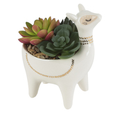 Artificial Succulents in Llama Pot, Ceramic & Plastic, 5 3/4 x 5 x 3 1/2 inches