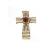 Rippled Galvanized Tin Wall Cross, 17 x 12 1/2 inches