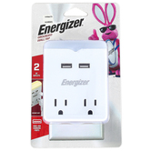 Energizer, USB & AC Outlet Grounded Wall Tap, White, 4 x 3 inches