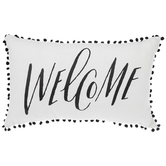 Welcome Lumbar Pillow, Buffalo Check, Pom Poms, Cotton, Olefin, and Polyester, 24 x 14 x 7 Inches