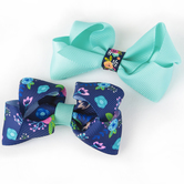 Creations of Grace, Baby Hair Bow Clips Set, Navy and Turquoise, 1 3/4 x 3 inches, 2 Bows